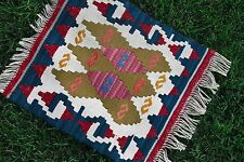 Tiny Beautiful Turkish Tribal Chair Table Cover Hand Woven Kilim Rug 16 inches