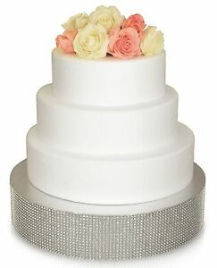 """""""OCCASIONS"""" Wedding Cake Stand Silver/ Gold Rhinestone , Bling Cake Drum Base"""
