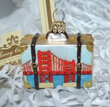 NEW IMPULS Golden Gate Bridge Glass Christmas Ornament CITY SCENES SUITCASE Gem