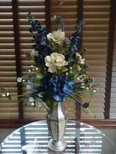 Silk Floral Flower Arrangement Blue Hydrangea and Cream Magnolias
