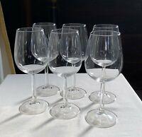 "Classic crystal wine glasses. SIX . Plain bowl, round tapered stem. 7 5/8"" h."