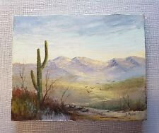 "Original Laura Mann Oil on Canvas Painting ""Desert Scene"" 8""x10"" with papers"