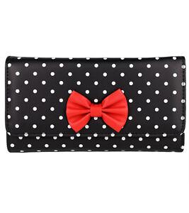 Damen Retro Geldbörse Polka Dot Muster & Schleife Brieftasche Rockabilly Punkte