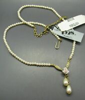 NWT NOS VTG 1928 Faux Pearl Necklace SEED PEARLS Porcelain PINK ROSES PENDANT