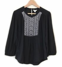 Country Road Black Embroidered Smock Blouse Top Size XS Cotton Casual Womens