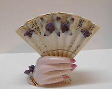 Hand Fan Vase Purple Flowers Pink Nails Gold Accents Lefton China Vintage