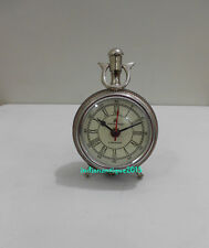 Collectible Decorated 49 Bond Street London Mechanical Leather Table Clock