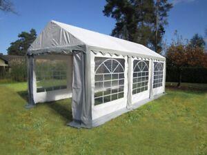3x6m Hochwertiges Partyzelt Festzelt Bierzelt Zelt Pavillon PVC grau-weiß NEU