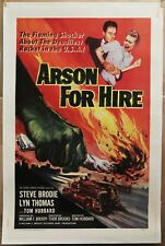 ARSON FOR HIRE 27X41 *20% OFF  linen mounted MOVIE POSTER '58 FIREFIGHTERS CRIME