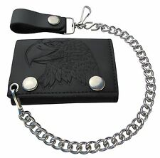 New Embossed Eagle Head Leather Trifold Chain Wallet Made in the USA