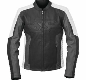 Speed and Strength Women's Hellcat Leather Motorcycle Jacket Black/Grey/White
