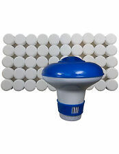 Chlorine Bromine Floating Dispenser with 50 x 20g Tablets for Pools Spa Hot Tub