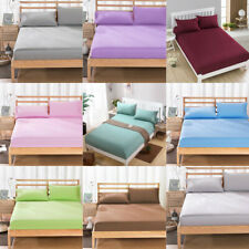 Solid Color Fitted Sheets Bedding Cover Deep Pocket Bedspread Queen King Size