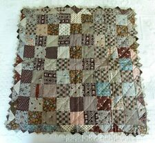 Rare Antique 9-Patch Miniature / Doll Quilt  - Early Fabrics & Prairie Points