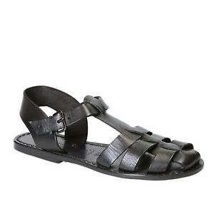 Handmade Women's franciscan close sandals shoes black real leather Made in Italy