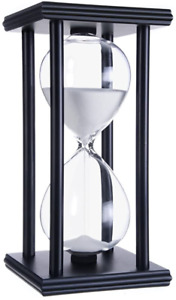 60 Minute Hourglass Wood Sand Timer White Sand Black Frame for Decorating Office