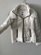 NEW DOWN Coat Ivory Hooded Faux Fur - Size L