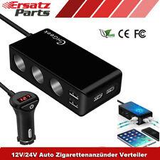 KFZ Zigarettenanzünder Verteiler 3-Fach Auto Ladegerät Adapter 4 USB Steckdose