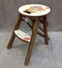 Shabby Chic Vintage Style Floral Foldable Wooden Step Stool