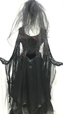 Raven 2Pcs Gothic Mortician Dress Pointed Fringed Sleeves, 3 Tier Vail In L12/14