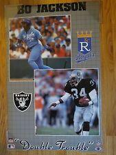 "BO JACKSON ""DOUBLE TROUBLE"" Kansas City Royals / Los Angeles Raiders Poster"