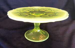 """9"""" Vaseline Opalescent Glass Cupcake Cake Stand Plate Inverted Thistle Mosser"""