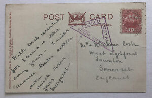 WWI Postcard Passed by Censor Bermuda Canefields to England 1d Bermuda Stamp Red