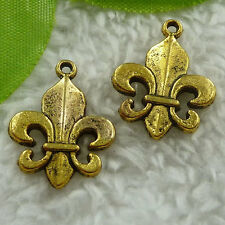 Free Ship 140 pcs gold plated Fleur de lis charms 22x17mm #2483