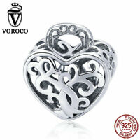 VOROCO 925 Sterling Silver Unique Lock Charm Beads With High Polish Fit Bracelet