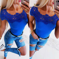 Women Lace Short Sleeve T-shirt Summer Holiday Beach Blouse Casual Top Tee Shirt