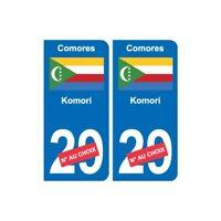 Comores Komori sticker numéro département au choix autocollant plaque immatricul