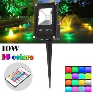 RGB LED Spike Flood Light Spotlight 16 Colours Changing Garden Yard Outdoor Lamp