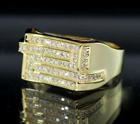 Mens Engagement Band 14k Gold Finish Bling Cubic Zirconia Ring Size 7-10