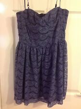BNWT TOPSHOP PETROL BLUE SHORT LACEY FULLY LINED DRESS SIZE 12