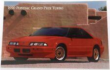 PONTIAC GRAND PRIX TURBO 1990 90 RED DEALER DEALERSHIP SHOWROOM PROMO POSTCARD