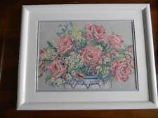 Framed Elsa Willia Needlepoint FORMAL ROSES Blue Vase Pink Flowers 15X19 JCA New
