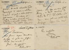 FASCISMO FORGES DAVANZATI AUTOGRAFO SU CARTONCINO LA TRIBUNA 1931 LOTTO DI 3