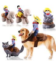 Funny Pet Dog Cat Puppy Costume Halloween Xmas Cowboy Rider Fancy Dress Clothes