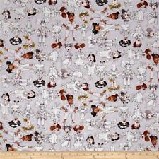Nifty Nurses Grey Tossed by Loralie Cotton Fabric 1/2 YARD
