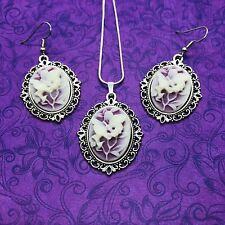 BUTTERFLY Purple CAMEO PENDANT NECKLACE & EARRING SET Silver plated GR8 QUALITY