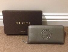 New Gucci Leather Large Zip-around Wallet/Purse - Soho Cellarius - Metallic Grey