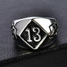 Vintage 316L Silver Stainless Steel Lucky 13 Skull Bone Biker Band Ring Jewelry