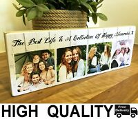 "11x4"" Personalised Wooden Family Photo & Text Block Best Friend Baby Gift frame"