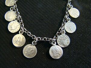 Vintage Coin Charm Bracelet Marked 925 Italy