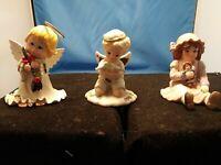 Lot of 3 Vintage Christmas Angels GIRL Porcelain