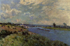 Beautiful artwork Oil painting Alfred Sisley - The Seine at Saint-Cloud canvas