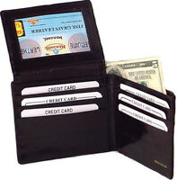 EEL SKIN Mens BLACK Leather Walley  Bifold Credit Card Holder Flip ID Window New