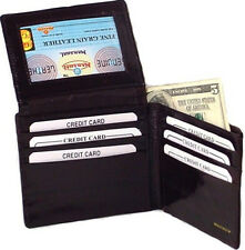 EEL SKIN Mens BLACK Leather Walley  Bifold Credit Card Holder Flip ID Window New