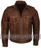 Classic Mens Motorcycle Boda Biker Vintage Brown Suede Fashion Leather Jacket