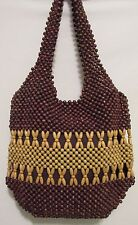 New! Beaded Shoulder Bag Boho Wooden Beads Brown Coachella Chic Purse Apt 9
